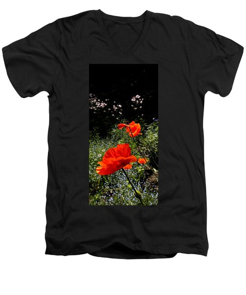 Bright Orange Men's V-Neck T-Shirt by Renate Nadi Wesley