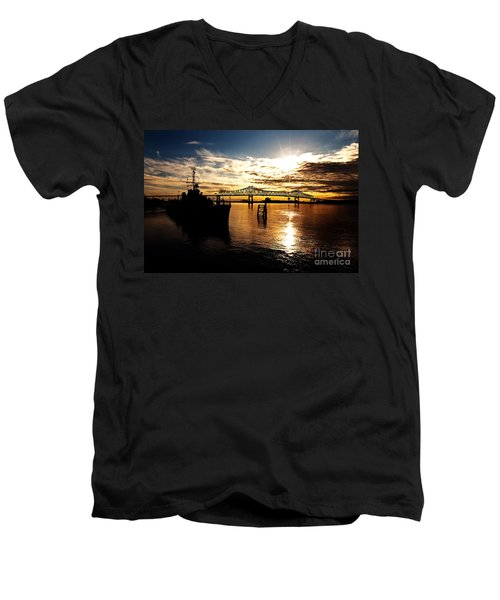 Bright Time On The River Men's V-Neck T-Shirt