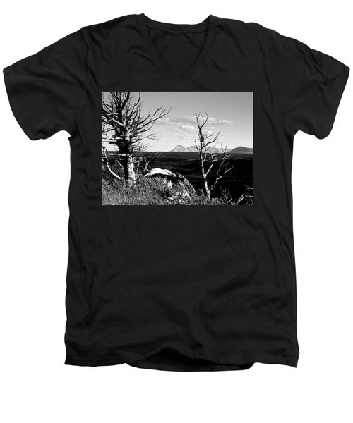 Bristle Cone Pines With Divide Mountain In Black And White Men's V-Neck T-Shirt