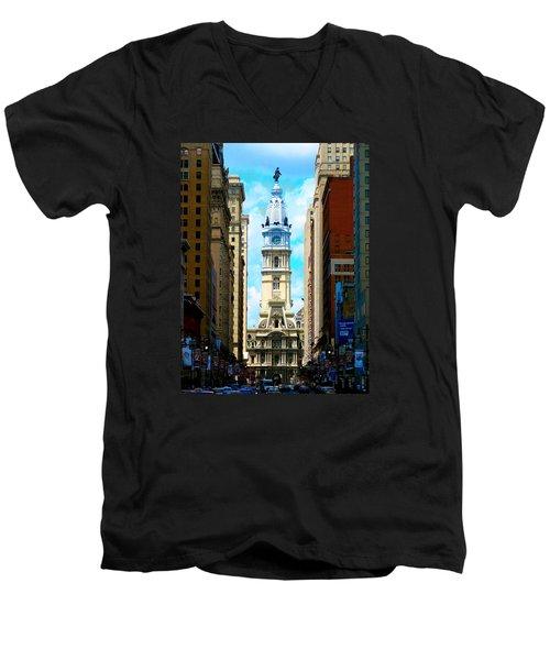 Philadelphia Men's V-Neck T-Shirt by Christopher Woods