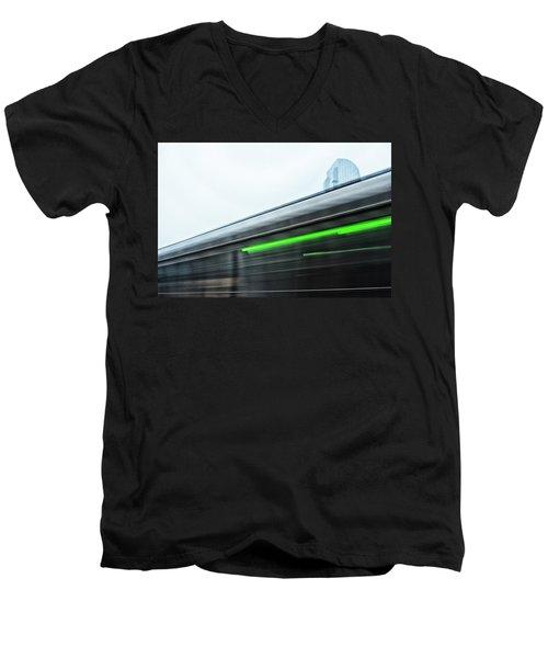 Broadway Bridge Abstract 2 Chromatic Men's V-Neck T-Shirt