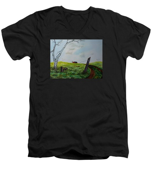 Men's V-Neck T-Shirt featuring the painting Broken Fence by Jack G  Brauer
