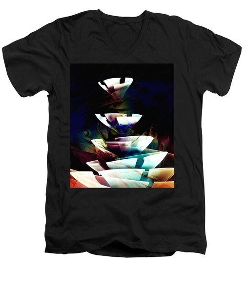 Men's V-Neck T-Shirt featuring the digital art Broken Glass by Anastasiya Malakhova