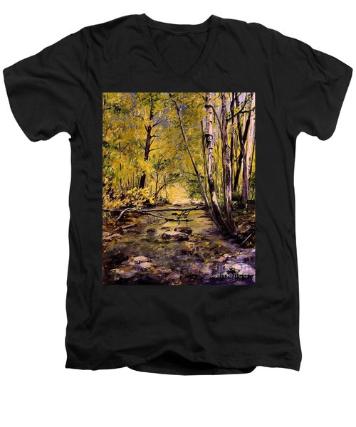 Brook In Stowe Vermont Men's V-Neck T-Shirt by Laurie Rohner