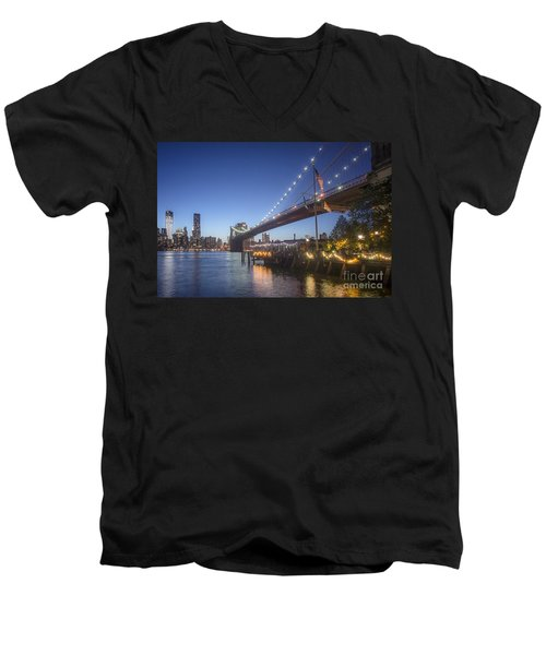 Men's V-Neck T-Shirt featuring the photograph Brooklyn Brdige New York  by Juergen Held