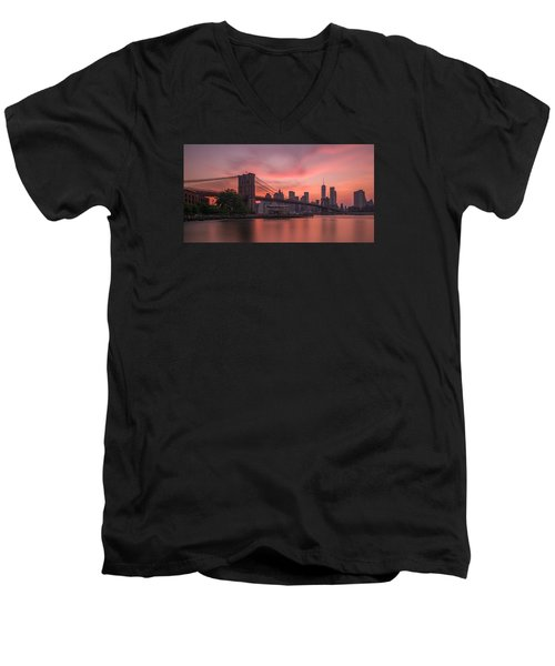 Men's V-Neck T-Shirt featuring the photograph Brooklyn Bridge Sunset by Scott McGuire