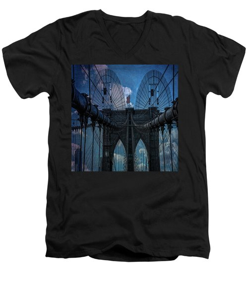 Men's V-Neck T-Shirt featuring the photograph Brooklyn Bridge Webs by Chris Lord