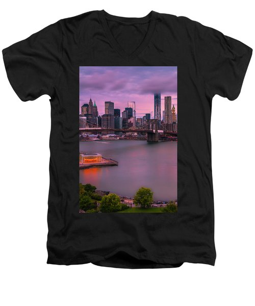 Men's V-Neck T-Shirt featuring the photograph Brooklyn Bridge World Trade Center In New York City by Ranjay Mitra