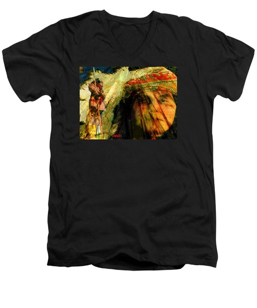 Men's V-Neck T-Shirt featuring the digital art Brother Wind by Seth Weaver