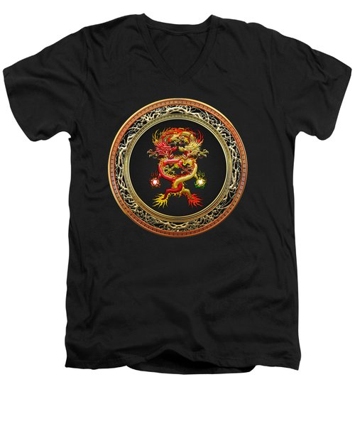 Brotherhood Of The Snake - The Red And The Yellow Dragons On Black Velvet Men's V-Neck T-Shirt by Serge Averbukh