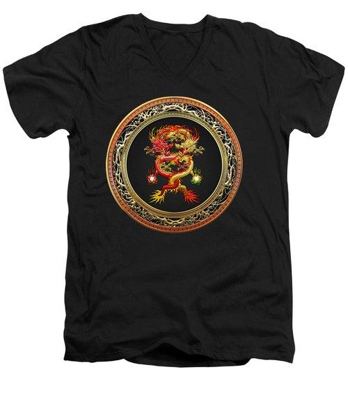 Brotherhood Of The Snake - The Red And The Yellow Dragons On Black Velvet Men's V-Neck T-Shirt