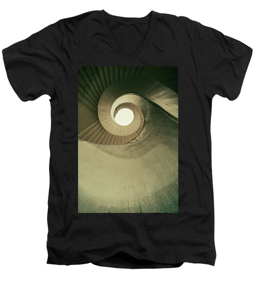 Men's V-Neck T-Shirt featuring the photograph Brown Spiral Stairs by Jaroslaw Blaminsky