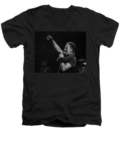 Bruce Springsteen In Cleveland Men's V-Neck T-Shirt