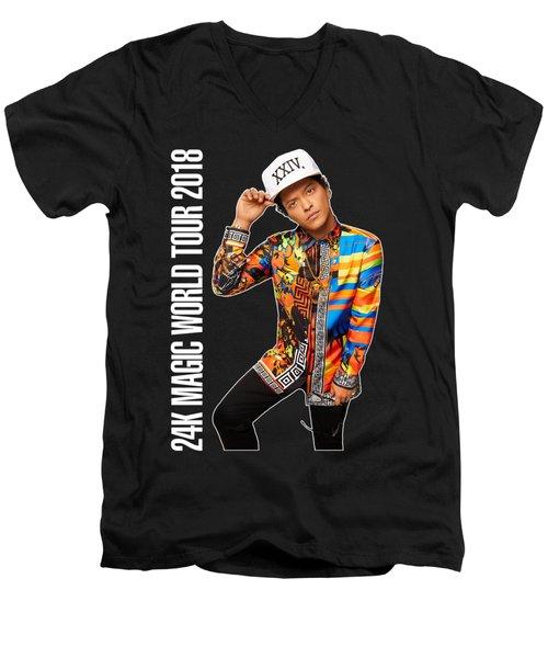 Bruno Mars 24k Magic Tour 2018 Ysf01 Men's V-Neck T-Shirt