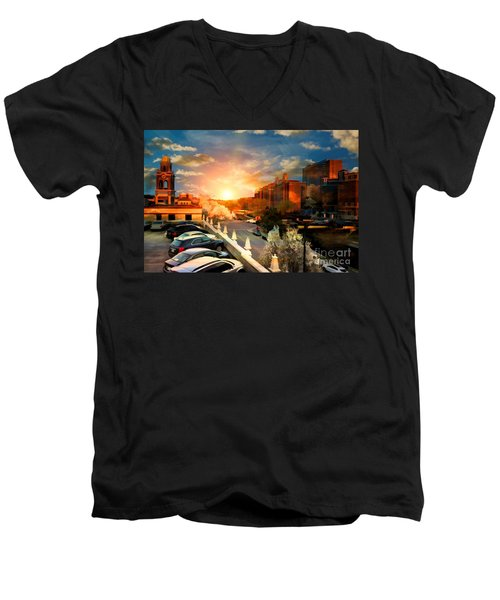 Brush Creek Kansas City Missouri Men's V-Neck T-Shirt by Liane Wright