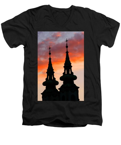 Men's V-Neck T-Shirt featuring the photograph Budapest Sunset by KG Thienemann