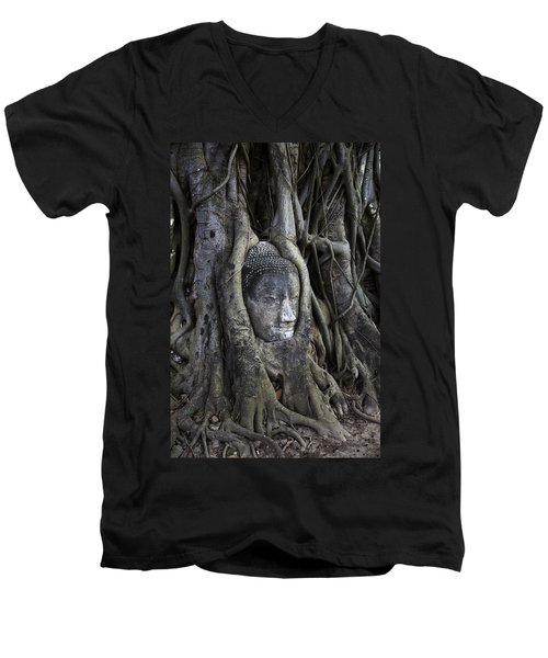 Buddha Head In Tree Men's V-Neck T-Shirt by Adrian Evans