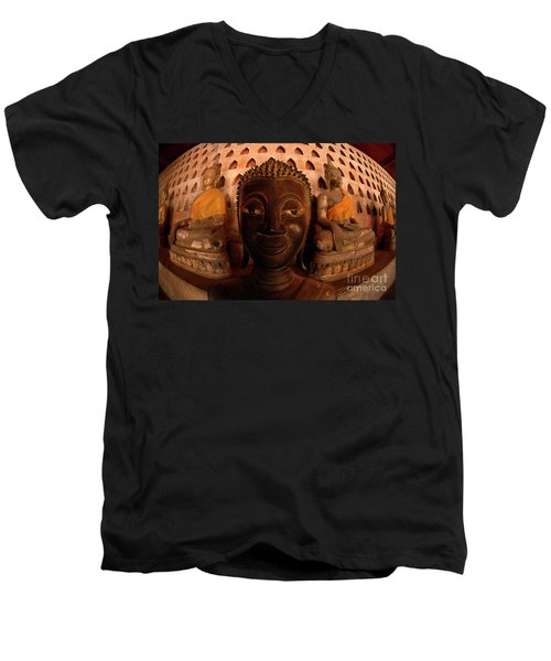 Men's V-Neck T-Shirt featuring the photograph Buddha Laos 1 by Bob Christopher