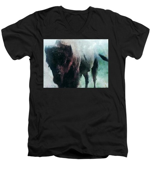 Buffalo American Bison Men's V-Neck T-Shirt by Michele Carter
