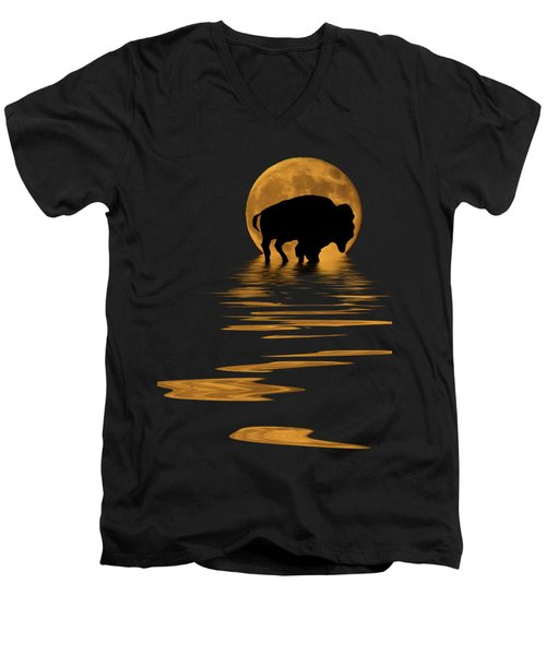 Buffalo In The Moonlight Men's V-Neck T-Shirt by Shane Bechler