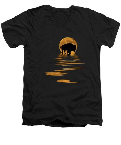 Buffalo In The Moonlight Men's V-Neck T-Shirt