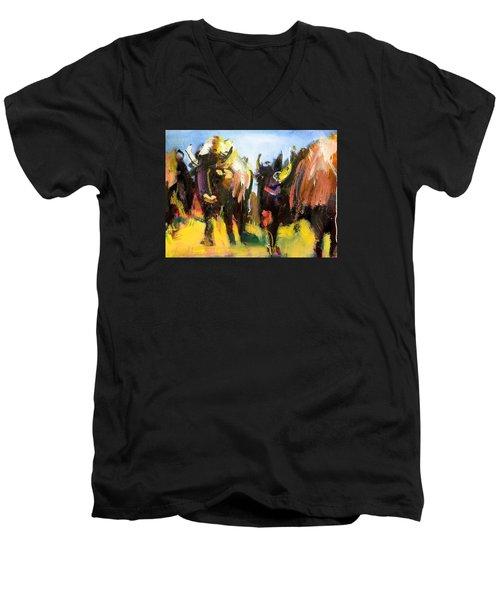 Buffalo Lips Men's V-Neck T-Shirt by Les Leffingwell
