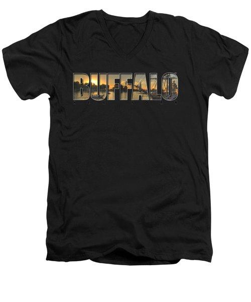 Buffalo Ny Canalside Sunset Men's V-Neck T-Shirt by Michael Frank Jr