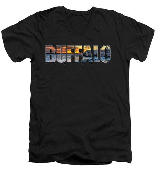 Buffalo Ny Erie Basin Marina Sunset Men's V-Neck T-Shirt by Michael Frank Jr