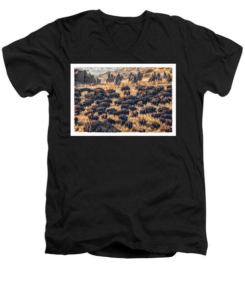 Buffalo Roundup Men's V-Neck T-Shirt by Kristal Kraft
