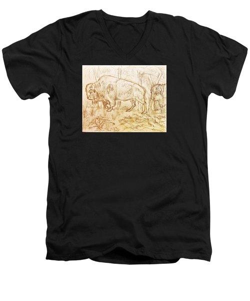 Buffalo Trail  Men's V-Neck T-Shirt by Larry Campbell