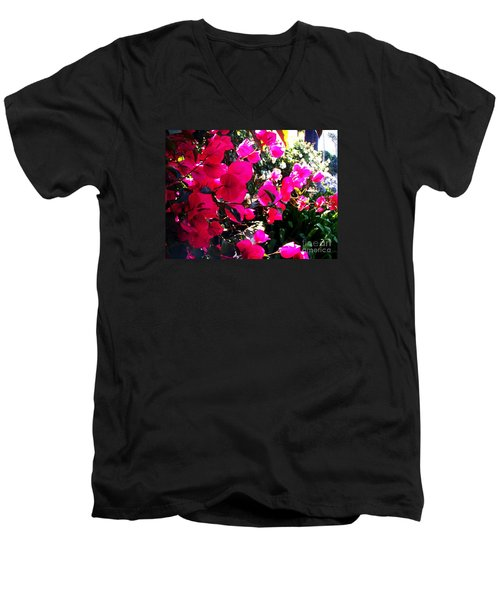Men's V-Neck T-Shirt featuring the photograph Bugambilia by Vanessa Palomino