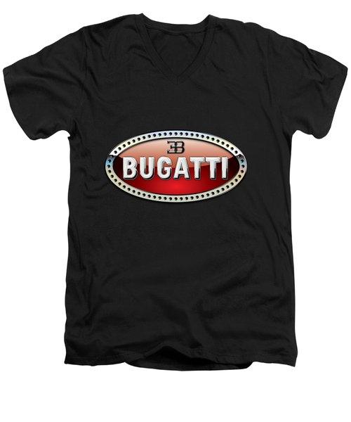 Bugatti - 3 D Badge On Black Men's V-Neck T-Shirt by Serge Averbukh
