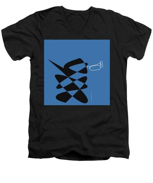 Bugle In Blue Men's V-Neck T-Shirt by David Bridburg