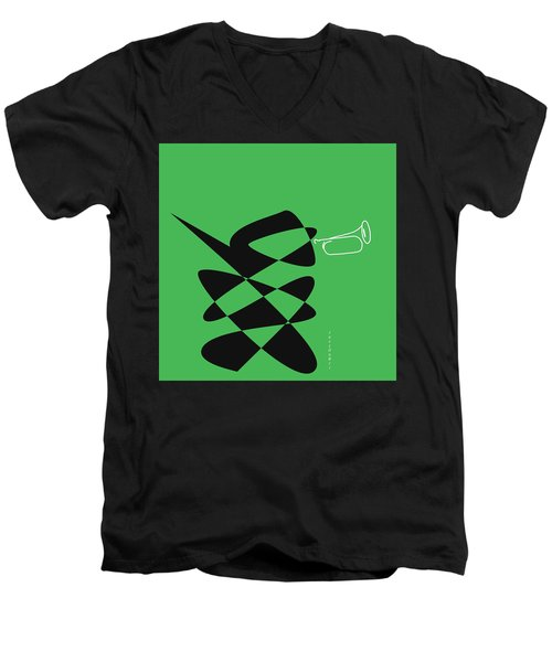 Men's V-Neck T-Shirt featuring the digital art Bugle In Green by David Bridburg
