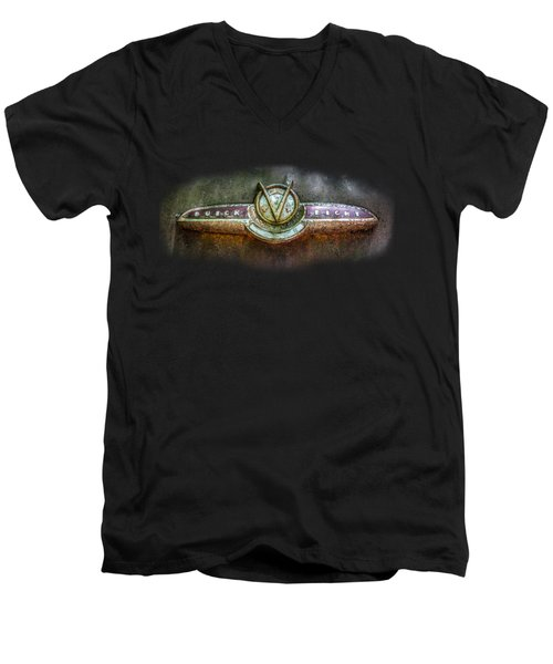 Men's V-Neck T-Shirt featuring the photograph Buick Super Eight Logo by Debra and Dave Vanderlaan