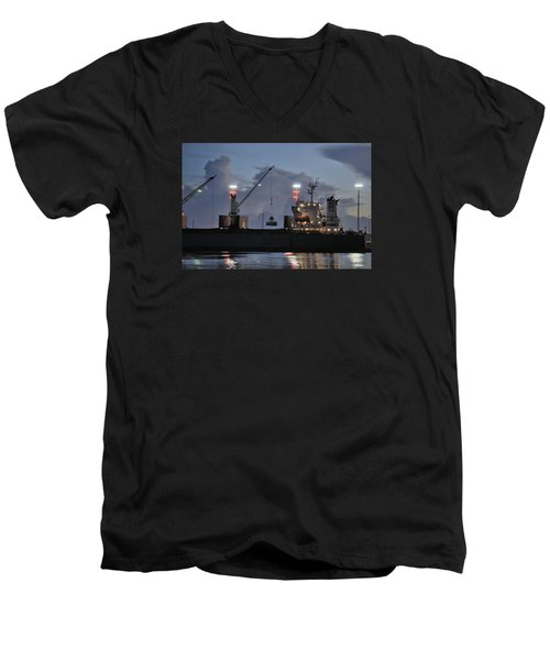 Men's V-Neck T-Shirt featuring the photograph Bulk Cargo Carrier Loading At Dusk by Bradford Martin