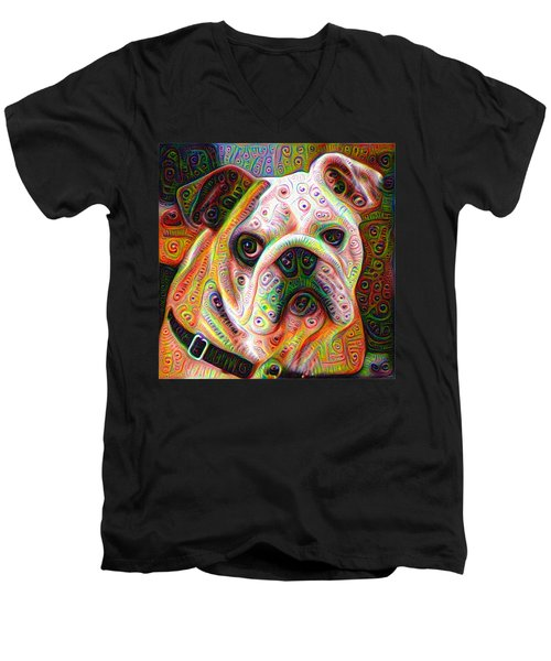 Bulldog Surreal Deep Dream Image Men's V-Neck T-Shirt by Matthias Hauser