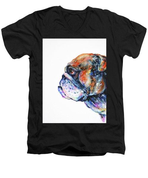 Men's V-Neck T-Shirt featuring the painting Bulldog by Zaira Dzhaubaeva