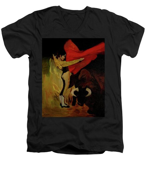Bullfighter By Mary Krupa Men's V-Neck T-Shirt by Bernadette Krupa