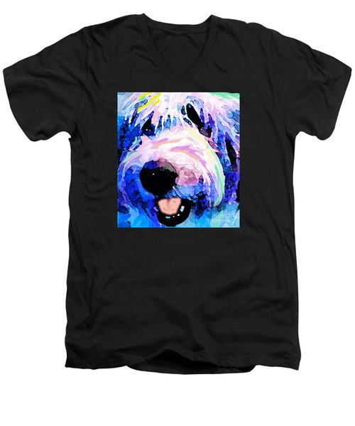 Bumble Bear Men's V-Neck T-Shirt by Alene Sirott-Cope