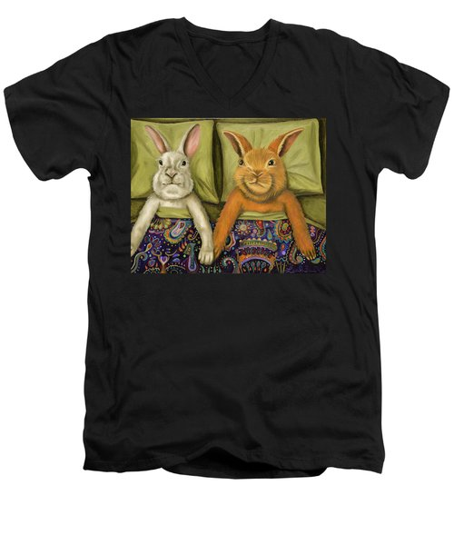 Men's V-Neck T-Shirt featuring the painting Bunny Love by Leah Saulnier The Painting Maniac
