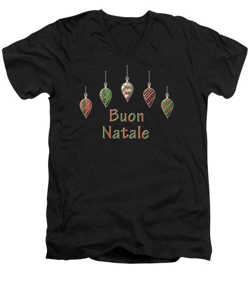 Buon Natale Italian Merry Christmas Men's V-Neck T-Shirt by Movie Poster Prints