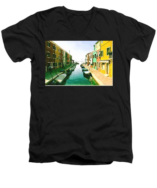 Burano Venice Men's V-Neck T-Shirt by Kai Saarto