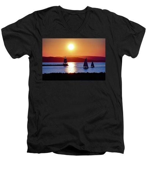 Burlington Breakwater Sunset Men's V-Neck T-Shirt