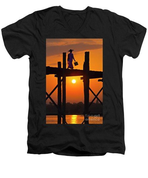 Men's V-Neck T-Shirt featuring the photograph Burma_d807 by Craig Lovell