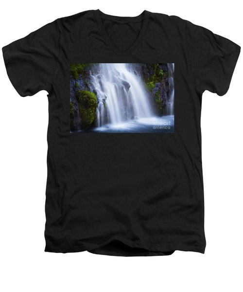 Men's V-Neck T-Shirt featuring the photograph Burney Falls  by Vincent Bonafede