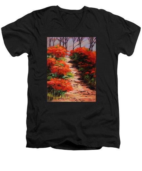 Men's V-Neck T-Shirt featuring the painting Burning Bush Along The Lane by John Williams