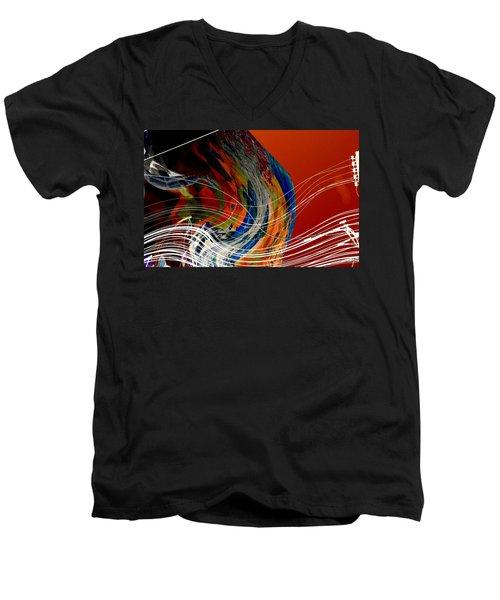 Burning City Sunset Men's V-Neck T-Shirt by Thibault Toussaint