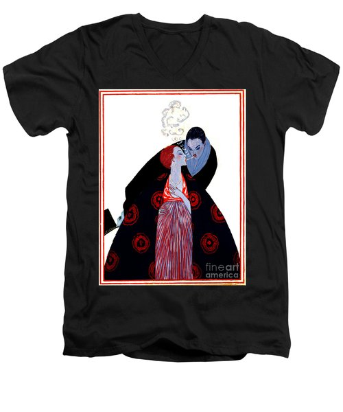 Men's V-Neck T-Shirt featuring the photograph Burning Desire 1919 by Padre Art