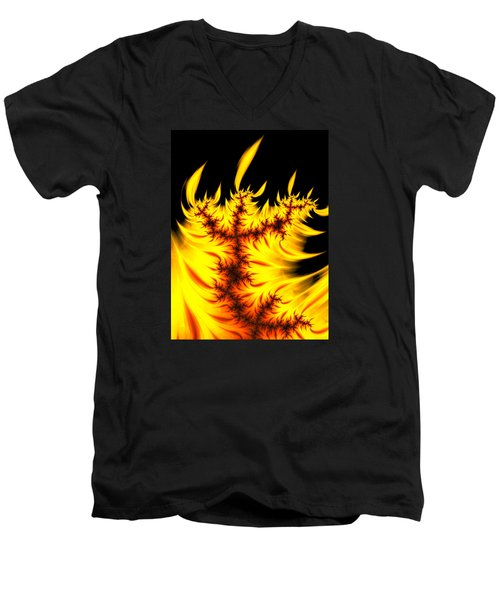Men's V-Neck T-Shirt featuring the digital art Burning Fractal Flames Warm Yellow And Orange by Matthias Hauser